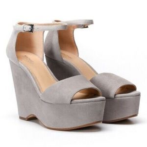 Michael Kors Claire Wedge Suede Grey/Gray Sandal